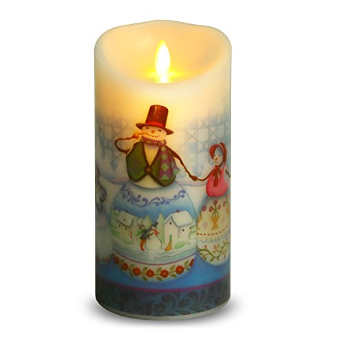 Ksperway Flameless Wax Candles, Moving Wick LED Pillar Candle with Blow ON/Off Control,Timer and Remote 3.5 by 7 Inch Picture (Snow Man) by Ksperway (Image #7)
