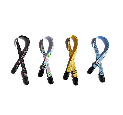 4PCS Assorted Color Printing Adjustable Napkin Clip Neck Strap Bibs Clip Clasp Holder Lanyard Saliva Clamp Pinafore Fixation Clip Towel Apron Bibs Chain for Elderly Adult Baby Color Random -