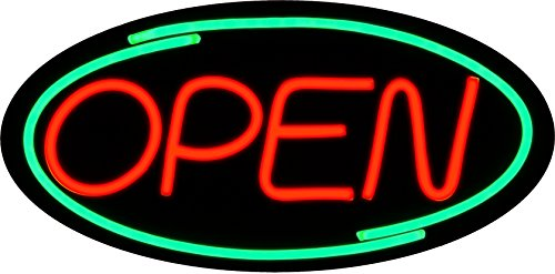 LED Open Sign BD24-1 - BuyDirectSign - Large 24x12 - Red & Green, PVC Foamboard - Remote Control - Very Bright! - Bar, Nail Salon, Hotel, Convenience Store, Vape Shop, Smoke Shop, Any Business! (Salon Shop)