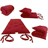 Brand New Red Traditional Japanese Floor Futon Mattresses, Foldable Cushion Mats, Yoga, Meditaion.