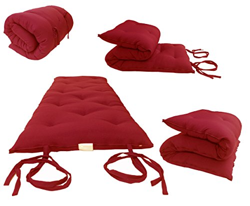 D&D Futon Furniture Traditional Japanese Floor Rolling Futon Mattresses, Thai Mats 3 x 27 x 80 (Red) by D&D Futon Furniture