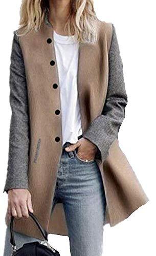 Seul Couleur Epissure Manches Femme Gris Boutonnage Hiver Chaude Yogly Manteaux Coat Longues Blouson Veste Automene 1HqFFT