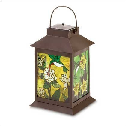 Naruekrit Koehler Home Decor Outdoor Garden Accent Metal Glass Solar-Powered Floral Lantern, Multicolor