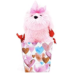 "Large 13"" Stuffed Pink Maltese in Handled Gift Box /Basket Puppy Dog Soft Plush Toy ~ Easter Sweetheart"