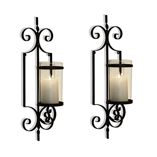 Homebeez Wall Candle Holder Iron Candle Holder Set of 2 (Heart and Fleur)