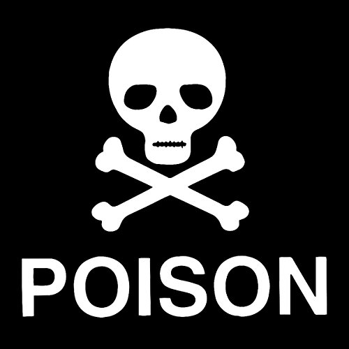 Poison Skull & Crossbones Masonic 6 Inch White Vinyl Decal -