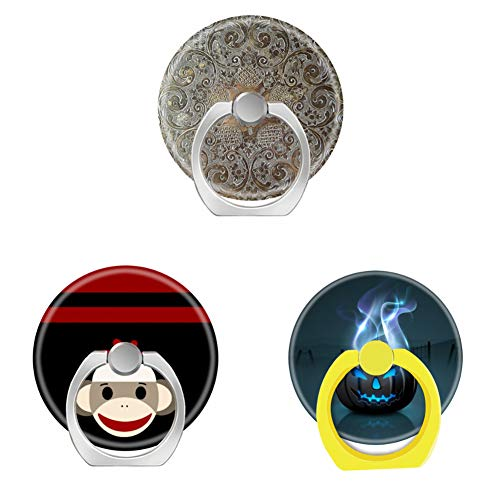 Bsxeos 360°Rotation Cell Phone Ring Holder with Car Mount Work for All Smartphones and Tablets-Cute Smiling Sock Monkey face on red Black-Dark Halloween-Decorative Design Flowers Metal(3 -