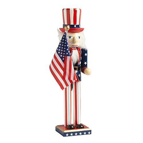 (Northeast Home Goods Wooden Christmas Nutcracker Decor, 15-Inch Uncle Sam Americana)