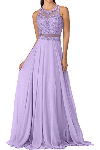Partykleider Festlichkleider La Flieder Rock Braut Durchsichtig Ballkleider Chiffon A-linie Elegant Steine mia Perlen Taille Abendkleider