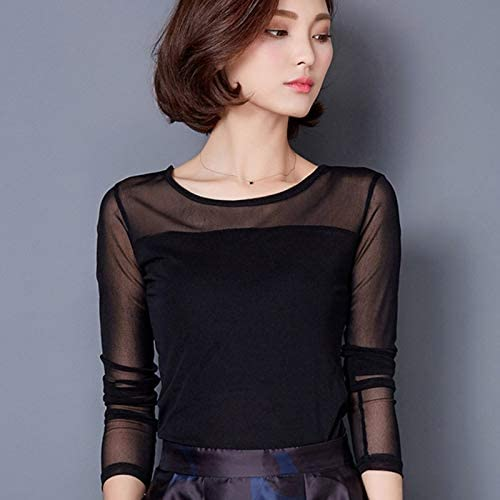 2019 Autumn New Large Size Women's high-Necked T-Shirt Slim mesh Shirt lace Shirt Long-Sleeved T-Shirt Shirt RSS (Color : 638dark red, Size : M)