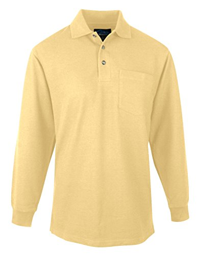 Tri Mountain Mens 60 40 Pique Long Sleeve Pocketed Golf Shirt    Sunflower   Large