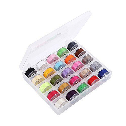 UPC 767550430984, Bobbin Storage case, Valar Dohaeris 25 Pieces Assorted Colors Kits Sewing Embroidery Thread Bobbins for Brother Babylock Janome Kenmore Elna Singer