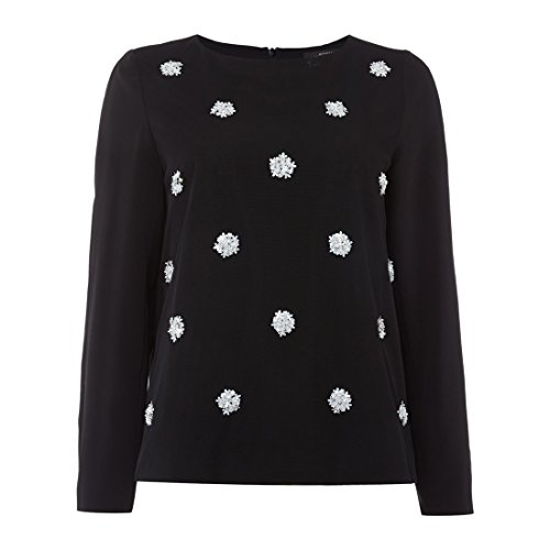 weekend-max-mara-womens-tirreno-flower-embellished-top-sz-8-black