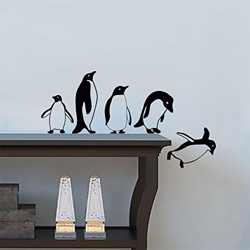 (ArtStickers Penguins Jumping Flying Funny Vinyl Wall Sticker Decor Decal Mural Kitchen Pets )