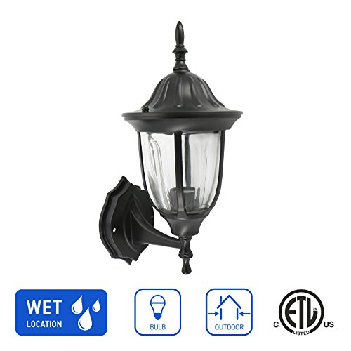 IN HOME 1-Light Outdoor Wall Mount Lantern Upward Fixture L03 Series Traditional Design Black Finish, Clear Glass Shade, ETL listed by IN HOME