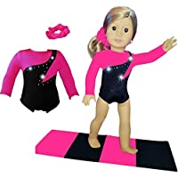 Doll Connections Gymnastics Leotard Outfit Compatible with American Girl Dolls - Doll Clothes and Accessories that fit 18 inch dolls for girls (3 Pieces in All)