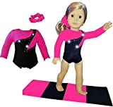 Doll Connections Gymnastics Leotard Outfit Compatible with American Girl of The Year 2019 Blaire Wilson Doll Accessories and Our Generation - 18 inch Doll Clothes (3 Pieces in All)
