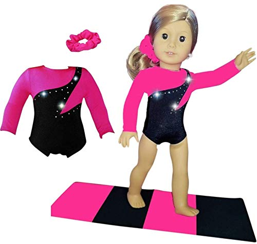 Doll Connections Valentines Day Gymnastics Leotard Outfit Compatible with American Girl of The Year 2019 Blaire Wilson Doll Accessories and Our Generation - 18 inch Doll Clothes (3 Pieces in -