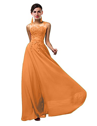 ThaliaDress Women Long Sheer Neck Evening Bridesmaid Dresses Prom Gowns T004LF Orange US10