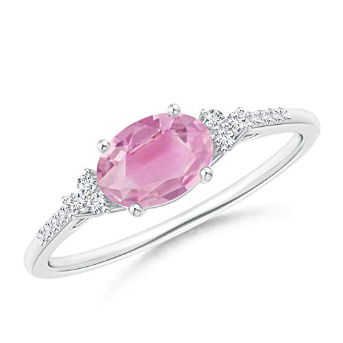 Horizontally Set Oval Pink Tourmaline Solitaire Ring with Trio Diamond Accents in Silver (7x5mm Pink Tourmaline)