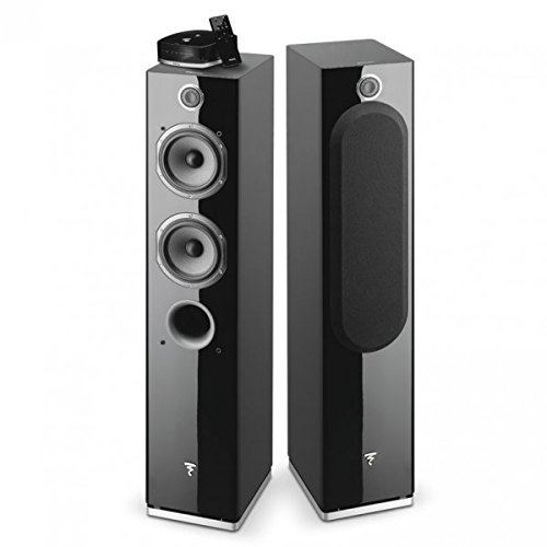 Focal - Easya Wireless Powered 2 1/2 Way Floorstanding Speakers - Black (Pair)