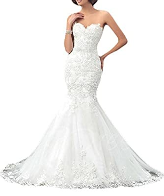 LastBridal Women Sweetheart Mermaid Wedding Dresses Lace Up Bridal Gowns Long WD0002