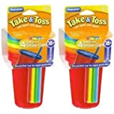 First Years Cup with Straw - Spill Proof - Toss & Take - Assorted Colors - 8 Cups W/ Cover & Straw