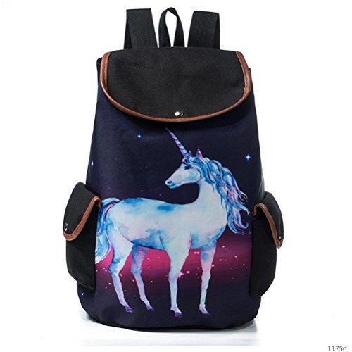 Winnerbag Fashion Espace Galaxy Cordon femelle Sacs à dos Bookbag Unicorn Cartoon Imprimer pour adolescentes Star Sac à dos pour l'école 001175c