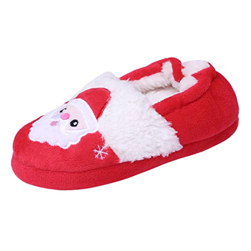 (Beeliss Toddler Girls Slippers Cartoon Plush Warm Shoes (7-8 M US Toddler, Red))