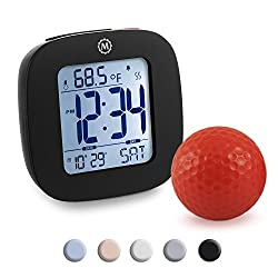 Marathon CL030058BK Small Alarm Clock with Snooze, Light, Calendar, Temperature and Date - Black - Batteries Included