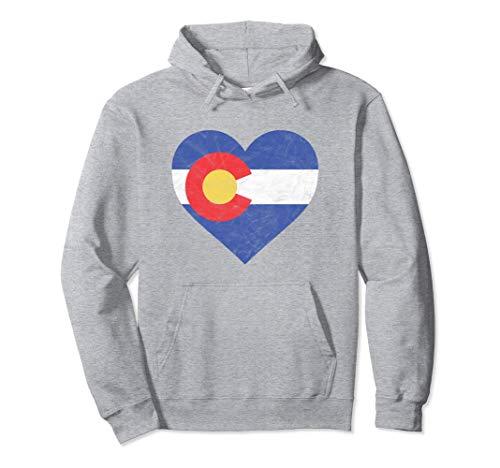 Retro Heart Colorado Flag Hoodie - Vintage Hooded Sweatshirt