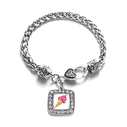 Inspired Silver - Ice Cream Cone Lovers Braided Bracelet for Women - Silver Square Charm Bracelet with Cubic Zirconia Jewelry (Ice Cream Cone Bracelet)