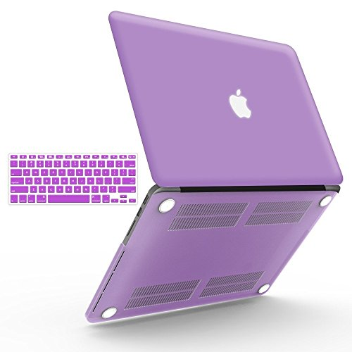 "iBenzer Basic Soft-Touch Series Plastic Hard Case & Keyboard Cover for Apple MacBook Pro 13-inch 13"" with Retina Display A1425/1502 (Previous Generation) (Purple)"