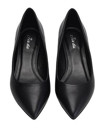 For Soft Black Kitten Dress Slip PU Formal Toe Cute Shoes Pointed Low Women Shoes On Pumps Heel Z6qxU5