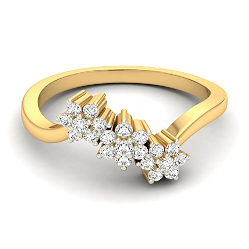 14K Or jaune 0,21CT TW Round-cut-diamond (IJ | SI) en diamant