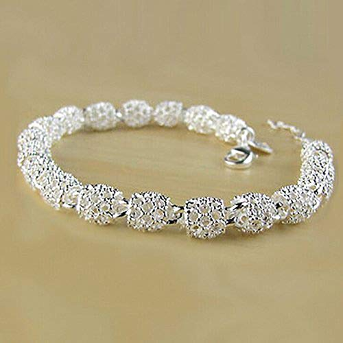 Aland Women's 925 Sterling Silver Hollow Chain Bracelet Charm Wrist Bangle Clasp Gift ()