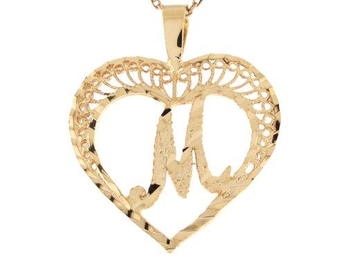 14ct Or Superbe Pendentif Coeur Avec Initial Lettre M En Filigrane 2.92cm