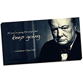panther print winston churchill quote canvas print picture wall art large 30x16 inches black white