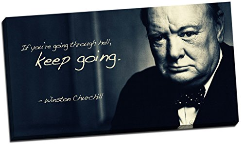 Panther Print Winston Churchill Quote Canvas Print Picture Wall Art Large 30X16 Inches Black, - Churchill Picture Winston