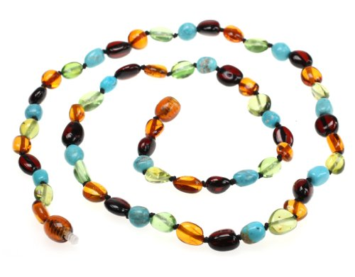 (Amberbeata Honey Cognac, Cherry Baltic Amber, Caribbean Green Amber & Natural Turquoise Beads Necklace, 20-Inches)
