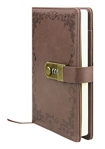 - Clobeau Lockable Diary,Lockable Journal Notebook Diary Travel Book A5 Notebook with Lock Memo Secret Diary Writing Journal Sketchbook Notepad Daybook Memorybook Lockable Journal Password Notebook