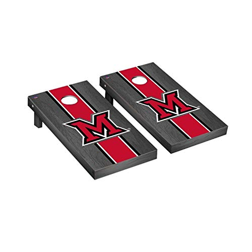 Victory Tailgate Regulation Collegiate NCAA Onyx Stained Stripe Series Cornhole Board Set - 2 Boards, 8 Bags - Miami University Redhawks
