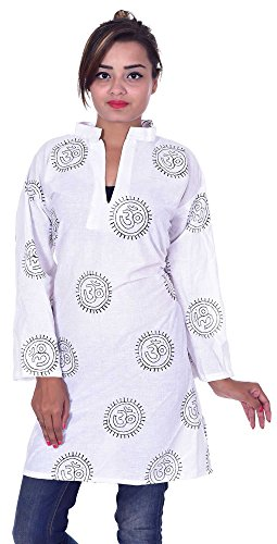 Indian-Om-print-100-Cotton-White-Color-Women-Ethnic-Top-Tunic-Kurti-plus-size-V-neck-Collar