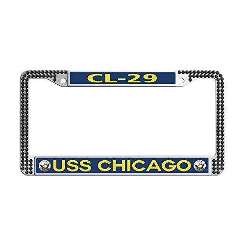 Hensonata U.S. Navy Military USS Chicago CL-29 Bling Crystal License Plate Holder, Bling Rhinestones Car tag -