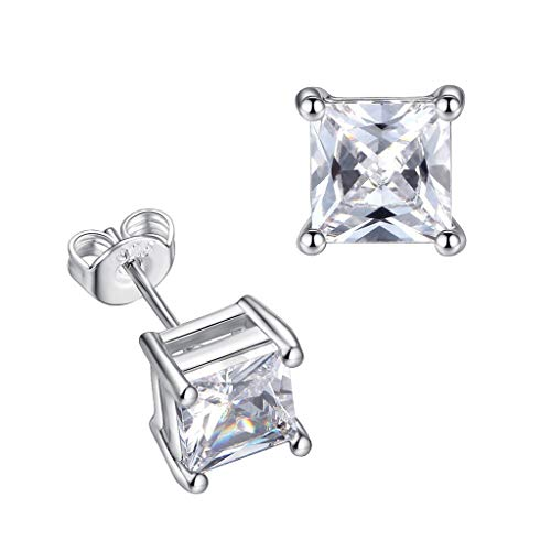 Diamond Earring Stud Princess Cut Zircon Sterling Silver Butterfly Lock Shiny Earring Nail Gemstone Engagement Diamond Jewelry Simple (clear)
