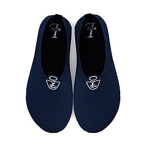 L-RUN Aqua Socks For Men Quick-Dry Water Sports Shoes Navy XXXL(M:10.5-11.5) M US