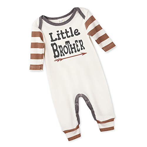 Tesa Babe Little Brother Romper, Newborn Baby Boy Cotton Jumpsuit (LS Pecan Striped, 0-3 ()
