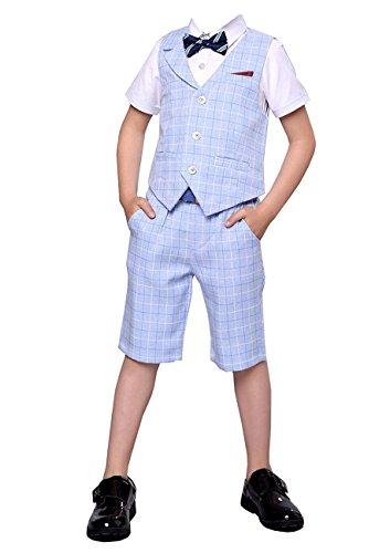 HZMY Boy Summer Leisure Suit 2 Pieces,Vest and Pants(8, Blue) (Boys Short Suits)