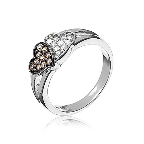 Bling Jewelry Sterling Silver Pave Chocolate Cubic Zircona Two Hearts Ring, Ring Size 7 (Sterling Chocolate)