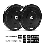 """Day 1 Fitness Olympic Bumper Weighted Plate 2"""" for Barbells, Bars – 35 lb Set of 2 Plates - Shock-Absorbing, Minimal Bounce Steel Weights with Bumpers for Lifting, Strength Training, and Working Out"""
